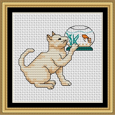Cats At Play 1 Cross Stitch - Click Image to Close