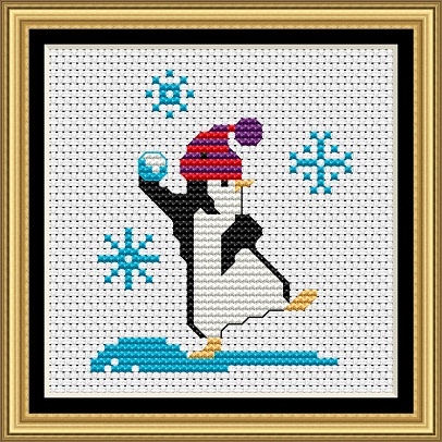 Penguins At Play 1 Cross Stitch