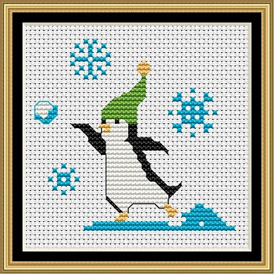 Penguins At Play 2 Cross Stitch