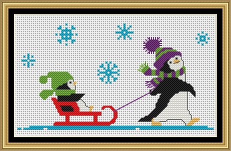Penguins At Play 3 Cross Stitch