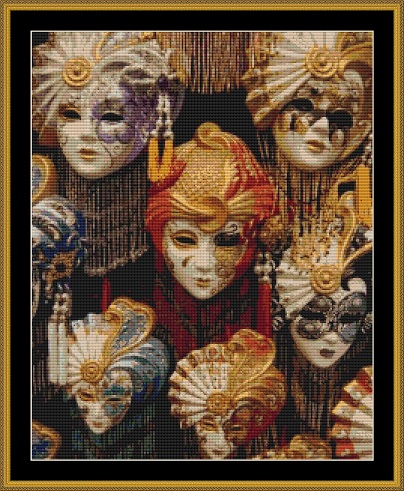 Carnival Masks Cross Stitch