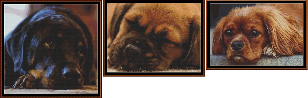 Sleepy Pups 1- 3 Cross Stitch Charts Pack