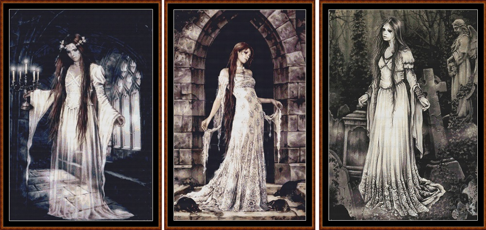 Ghostly Ladies 3 Cross Stitch Charts Pack